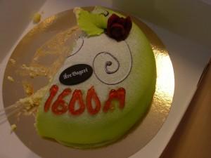 Rekordet firades med en välförtjänt tårta.
